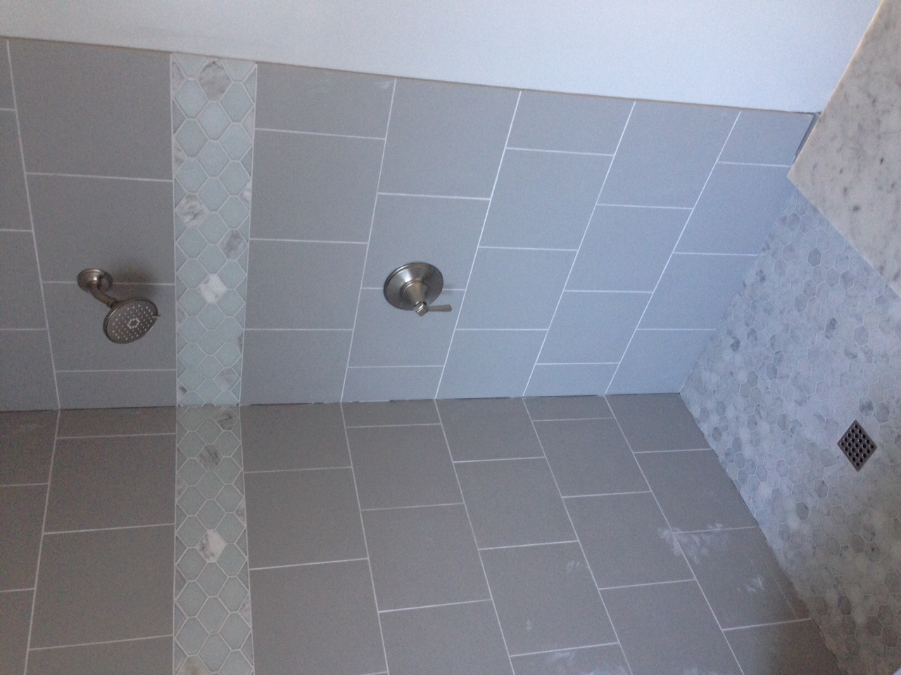 Finished shower with new shower valve and trim