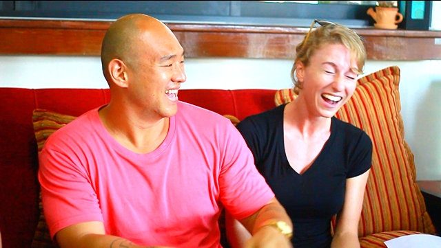 A fun moment with Johnny and Larissa. The game brings people closer by bringing up fun and interesting topics that don't typically come up in daily conversation.