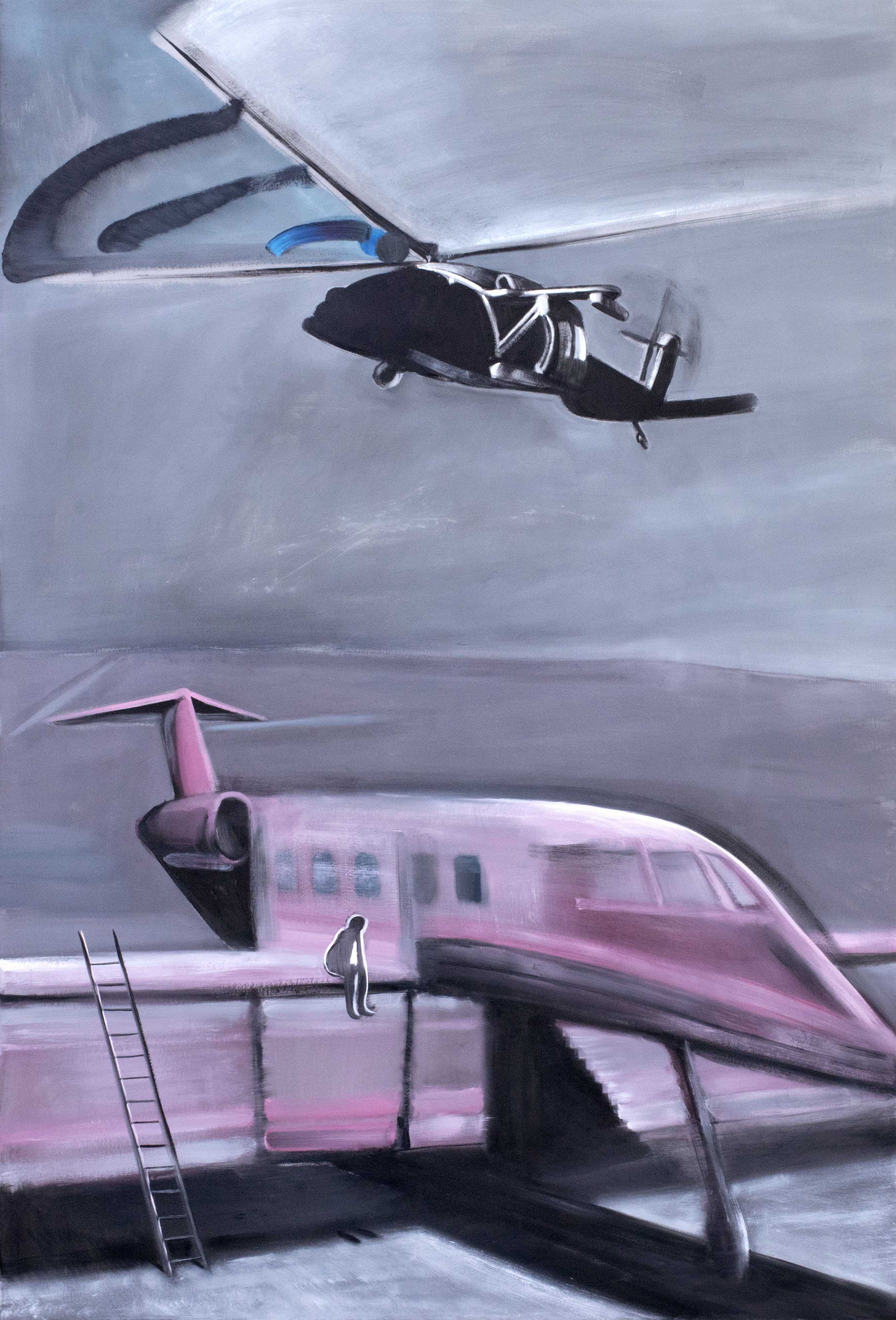 Helicopter and Tender Jet