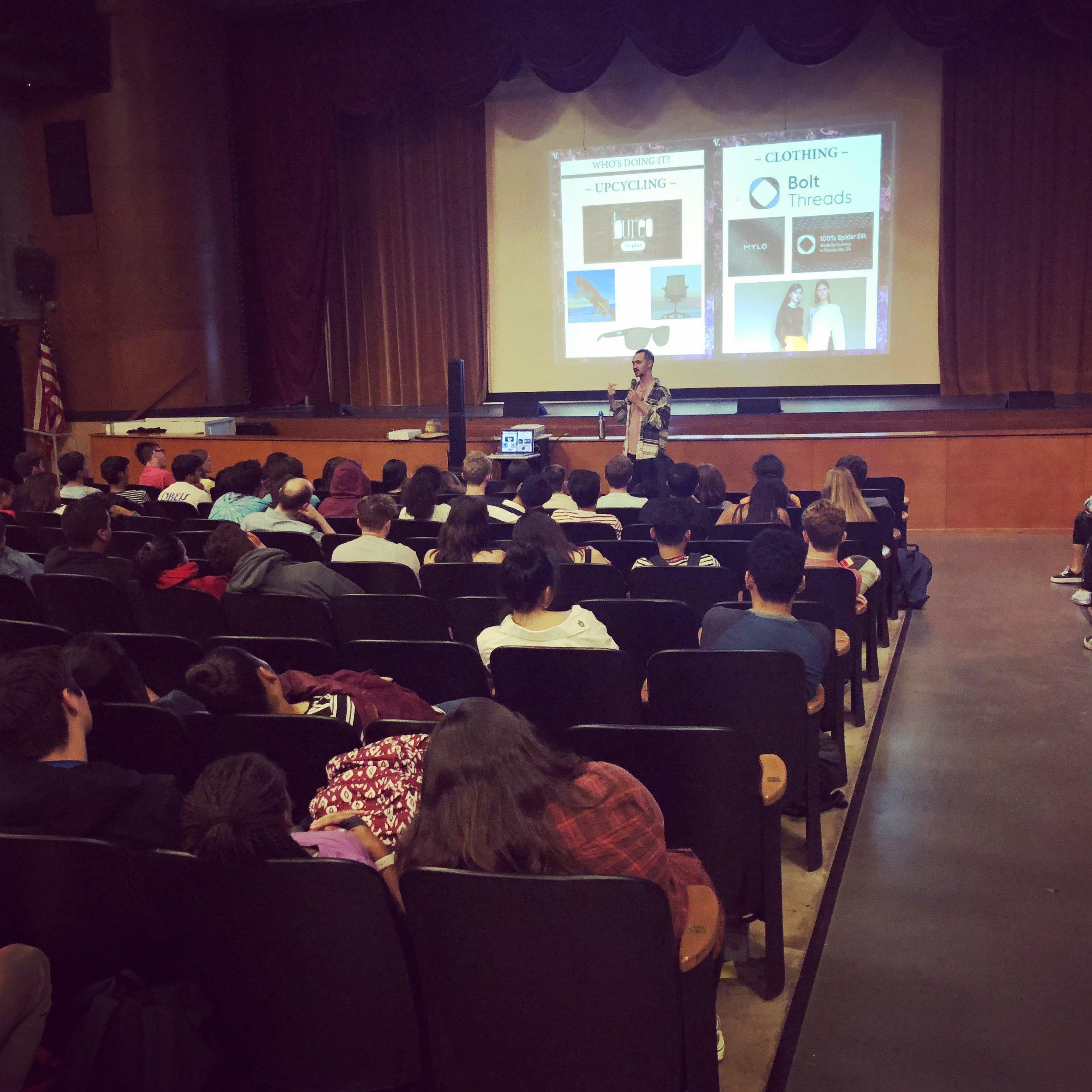 Presenting at Burroughs High School, Burbank.