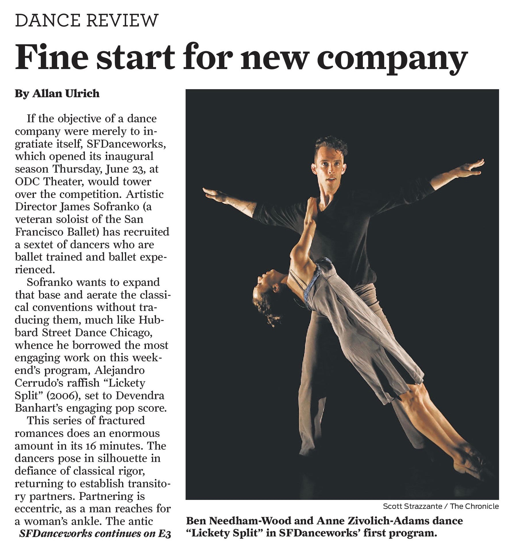 SFDanceworks review in the San Francisco Chronicle. June 25th, 2016. Click for full article.