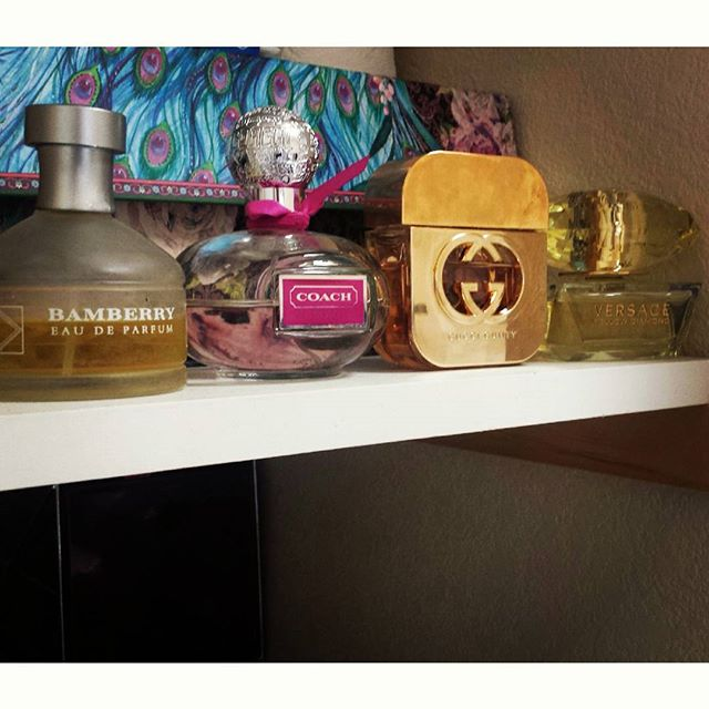 This is just on one of her shelves #burberry #coach #gucci #versace and all I get is a right guard deodorant lol. #spoiled yo