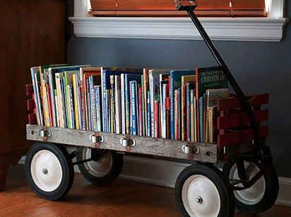 Most   Flea Markets   has great stuff you can use as storage, like here for books.