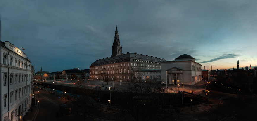 View of The Tower at Christiansborg Palace.