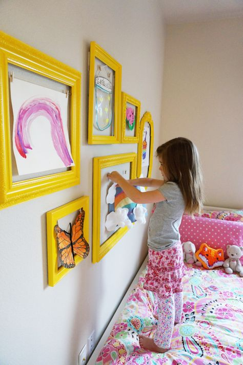 "Children create great things and a lot of it! You properly havn´t got space for all of it. Make these re-useable frames and put up new ""art"" from time to time."