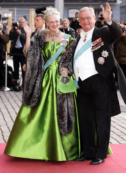 Queen Margrethe and Prince Henri. She always has great style with colourful dresses and fur.
