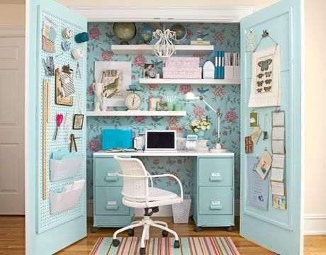 Great idea :-)Take out the bottom of at cupboard, create an office in there, when you want to clean up - just close the doors !