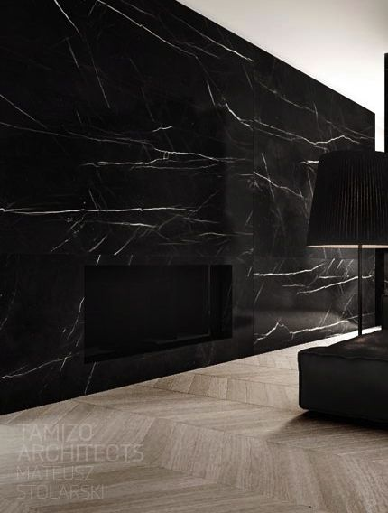 Home wall in black marble. WAUW!