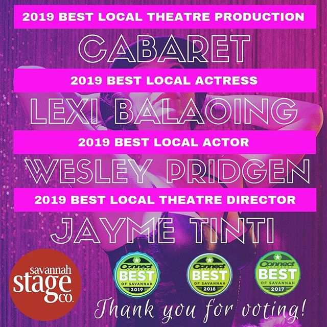 We love this city and choose to serve it every single day. Thank you for your belief in the work that we do and the support in helping make it happen. #bestofsavannah2019 #seekyourdreams #theatreinsavannah #cabaret #lifeisacabaret #cometothecabaret #musical #musicaltheatre #theresnoplacelikeSSC