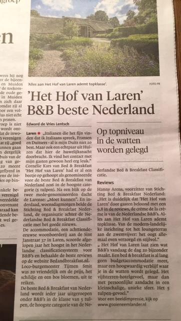 Krant Het Hof van Laren Beste B&B