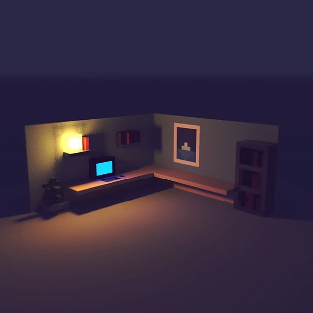 Late night at the office... (¯―¯٥) #voxel #magicavoxel #office
