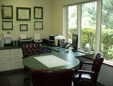 Consultation room where you will first meet with Dr. Burkey