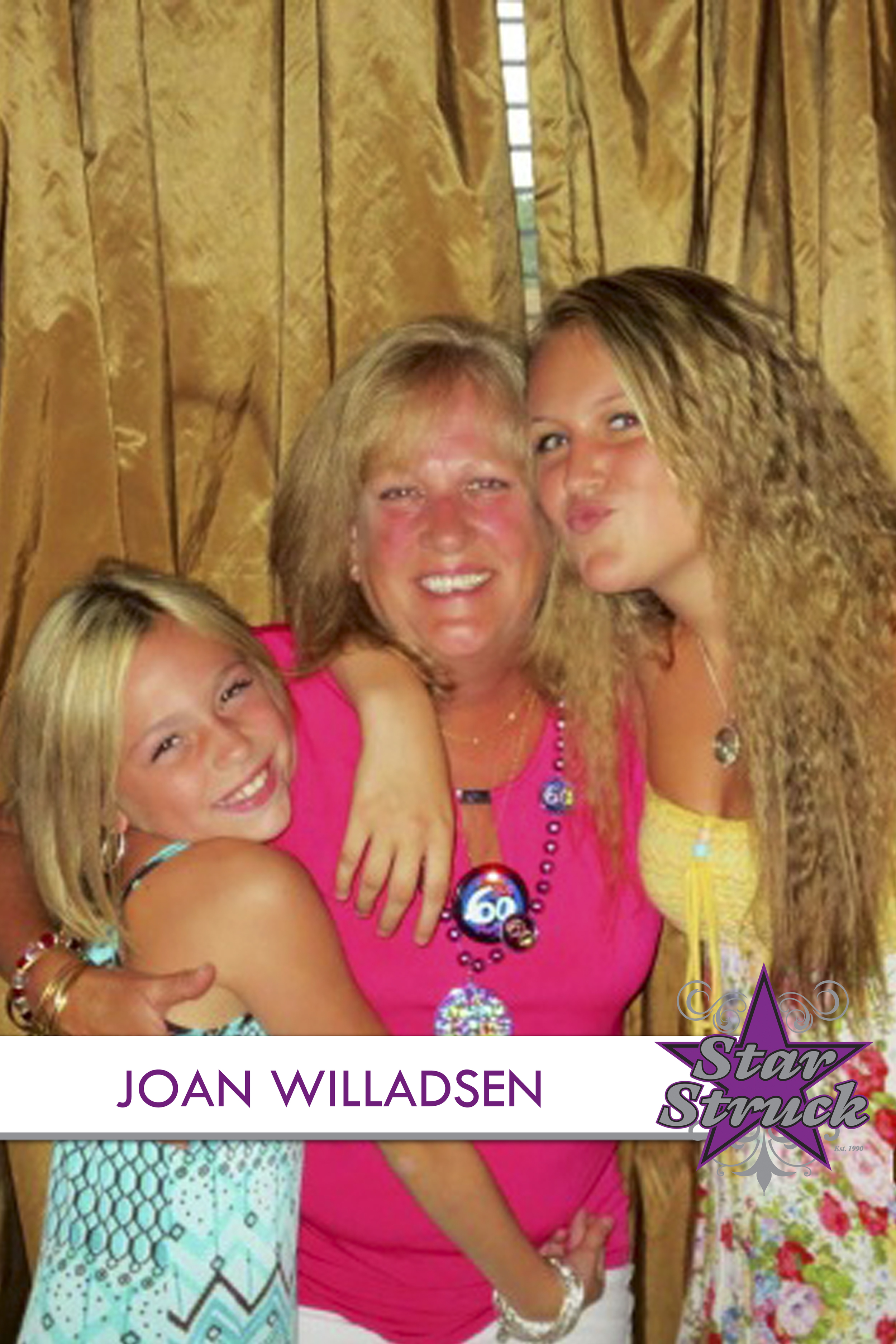 """JOAN WILLADSEN   Joan Willadsen, """"AKA"""" Grammy J, has been the studio's biggest supporter right from the start. Though she's not directly involved with the dance aspect of the business, she keeps things running smoothly by handling all the paper work. Joan is the official book keeper & den mom to the entire staff, not to mention Miss Gail's personal therapist. Joan has been an employee at JP Morgan Chase for the past 37 years. Her family is what matters most and having both her daughters Gail and Erica follow their dreams is all any Mom could ask for. She is filled with pride and loves the part she plays at Star Struck."""