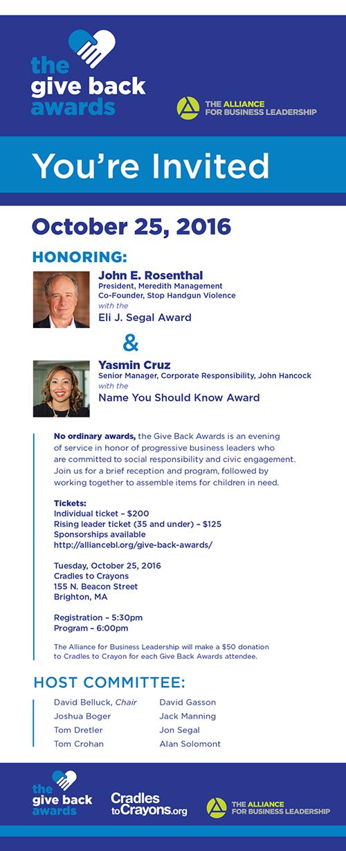 The Give Back Awards Invitation Art Direction: Grossman Marketing
