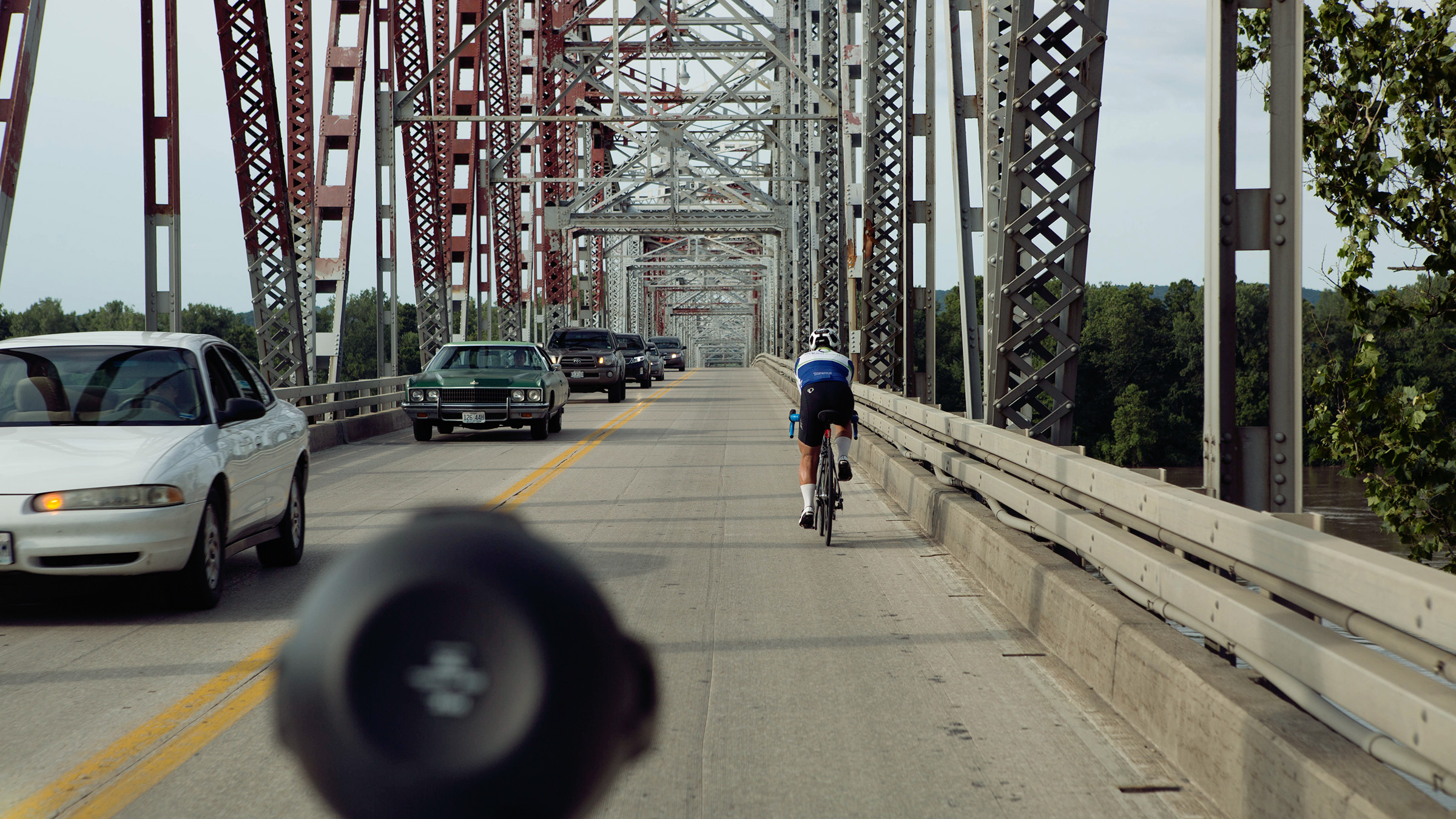 Even small milestone like crossing the Missouri River meant a lot to Matt as he cycled  ever closer to the finish in Annapolis. Eventually RAAM became a game of inches as the days wore on.