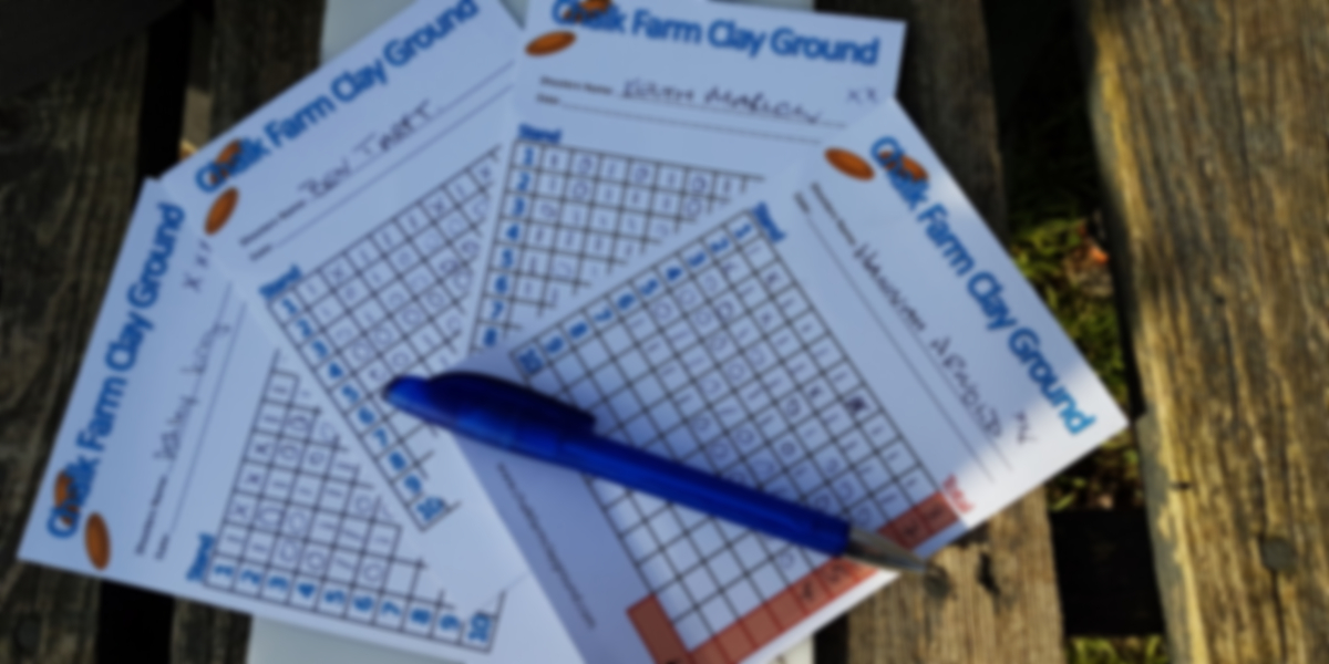 Clay shoot score cards from Chalk Farm - photo by Stella Gooch