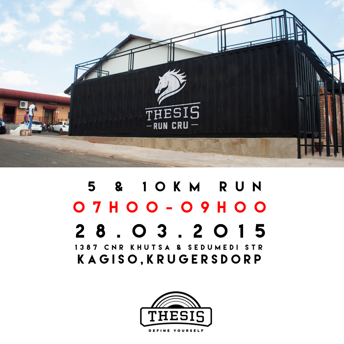 We kick start the day with our Thesis Run Cru. This is our social running club that wakes up every Saturday with the aim of getting as many people into running as possible. The quest is simple, if you can move you feet, then come join us. 5km & 10km routes. No one gets left behind.