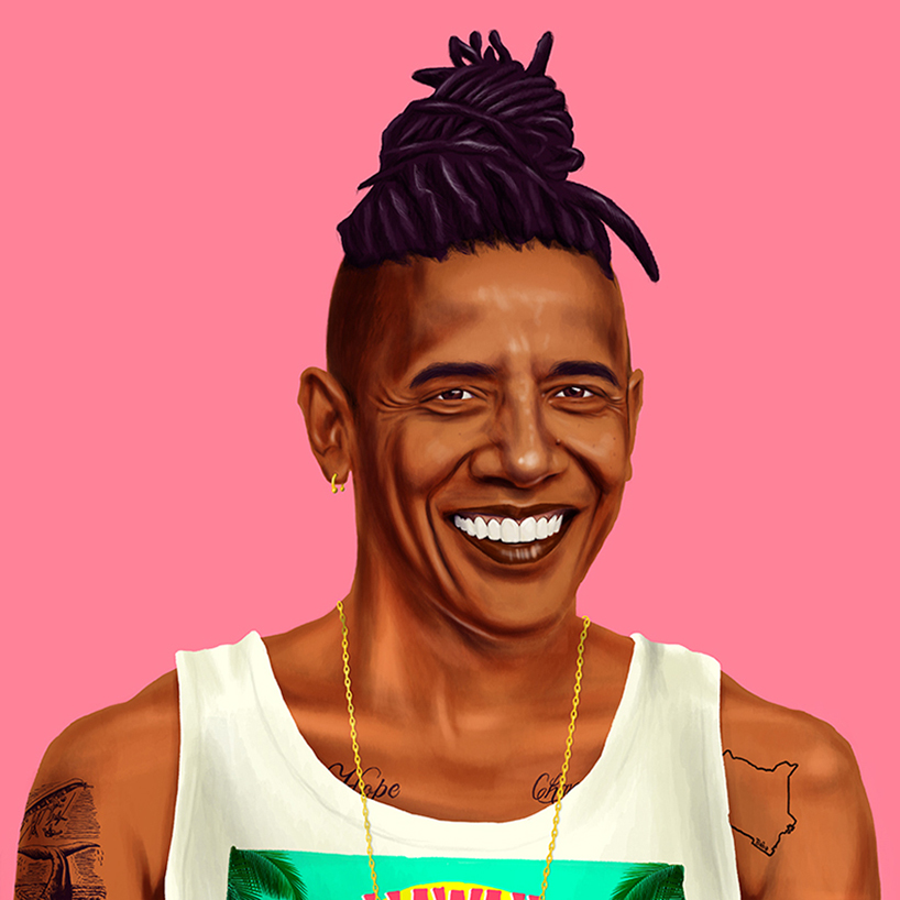 """Barack Obama, is a sport trendy gent tattooed with """"hope"""" and """"change"""" and topped off with the ever so famous man-bun."""