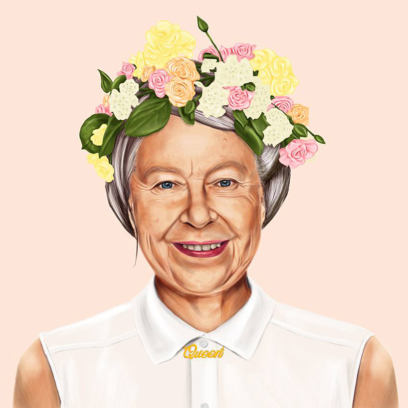 """Queen Elizabeth, is a typical hippy lady in a flower crown in a white shirt buttoned to the top and a gold personalised """"queen"""" necklace."""