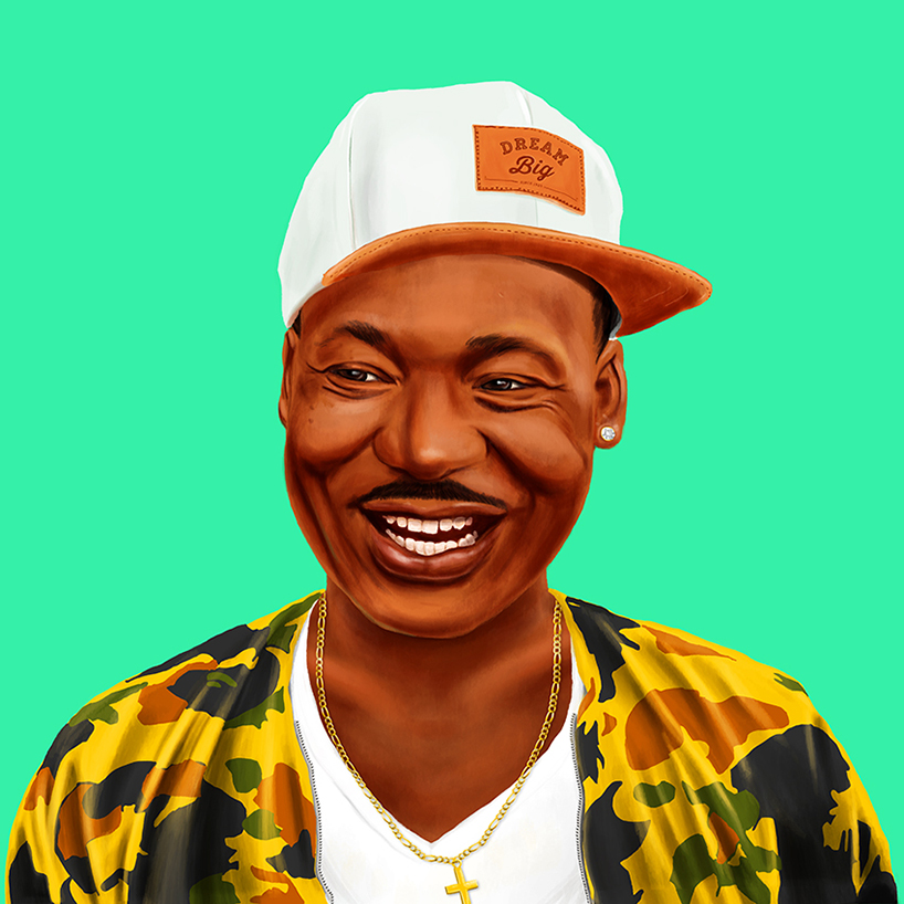 """Martin Luther King Jr, is a cool guy in a camouflaged windbreaker and a white tee underneath and a snapback bearing the slogan """"dream big""""."""