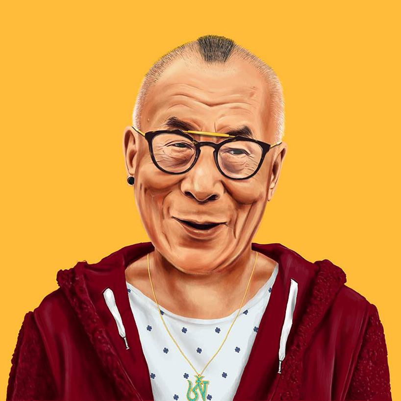 Dalai Lama, is wearing a hoodie and fresh to death glasses.