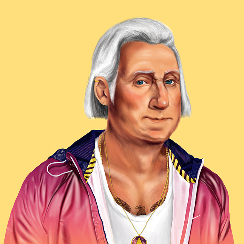 George Washington, is in a two tone pink/coral jacket, white vest with an eagle tattoo peeping out from his chest.