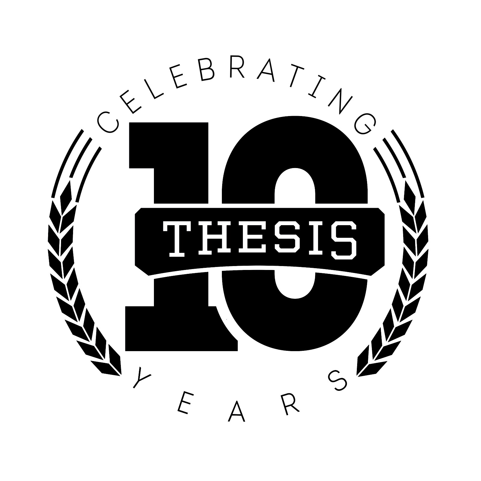 This is the second logo we released just recently. This logo was inspired by a wreath, yes a wreath. To explain this the purpose or the symbolism of a wreath has to do with the circle, how the circle represent many things like unity, focus and in our case time. Time in a sense of celebrating 10 years of Thesis. The wreath is often used at ceremonies like you have seen at the Olympic Games and in Greek Mythology.