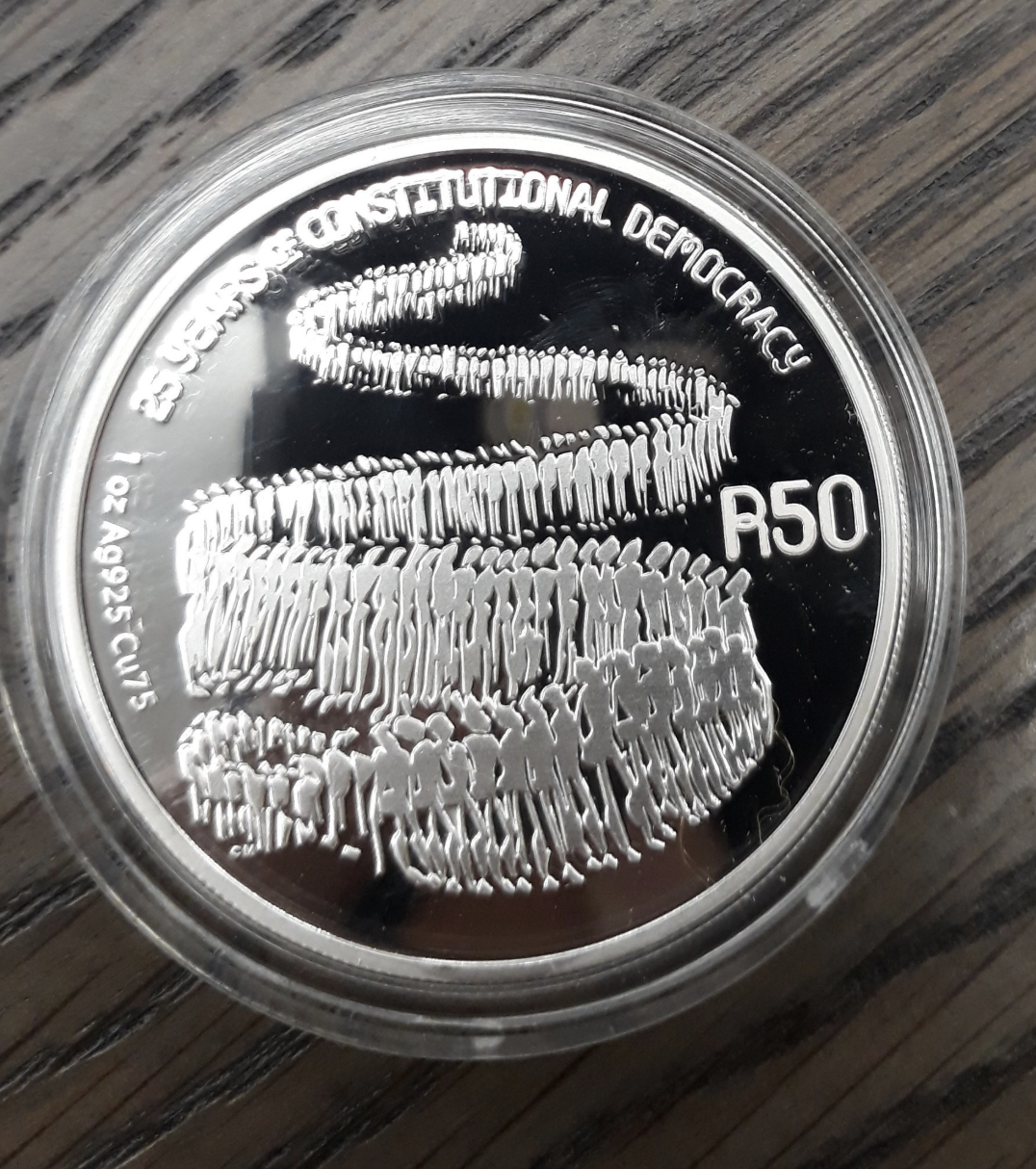 The R50 sterling-silver collectable coin features the constitutional democracy in action, symbolised by a line of people queuing to vote as they did on 27 April 1994 in the first democratic elections in South Africa.  Image found of Lady Skollie's Twitter page