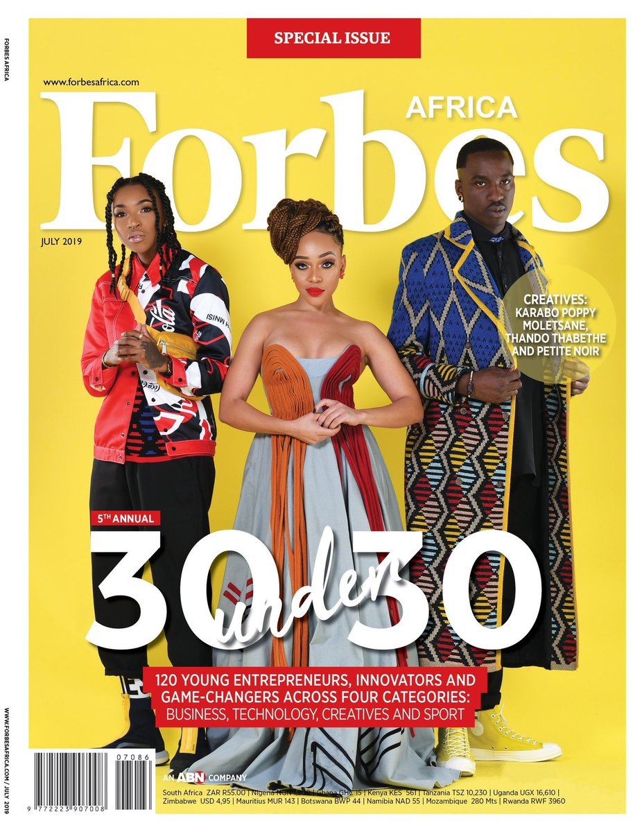Last week FORBES AFRICA announced the 2019 Forbes 30 Under 30 list.   This year marks the fifth milestone annual FORBES AFRICA 30 under 30 list, and we have introduced a new category of game-changers. Together, they are 120 in total across four sectors: business, technology, creatives and sport. Meet the class of 2019, a stellar collection of entrepreneurs and innovators rewriting rules and taking bold new risks to take Africa to the future.