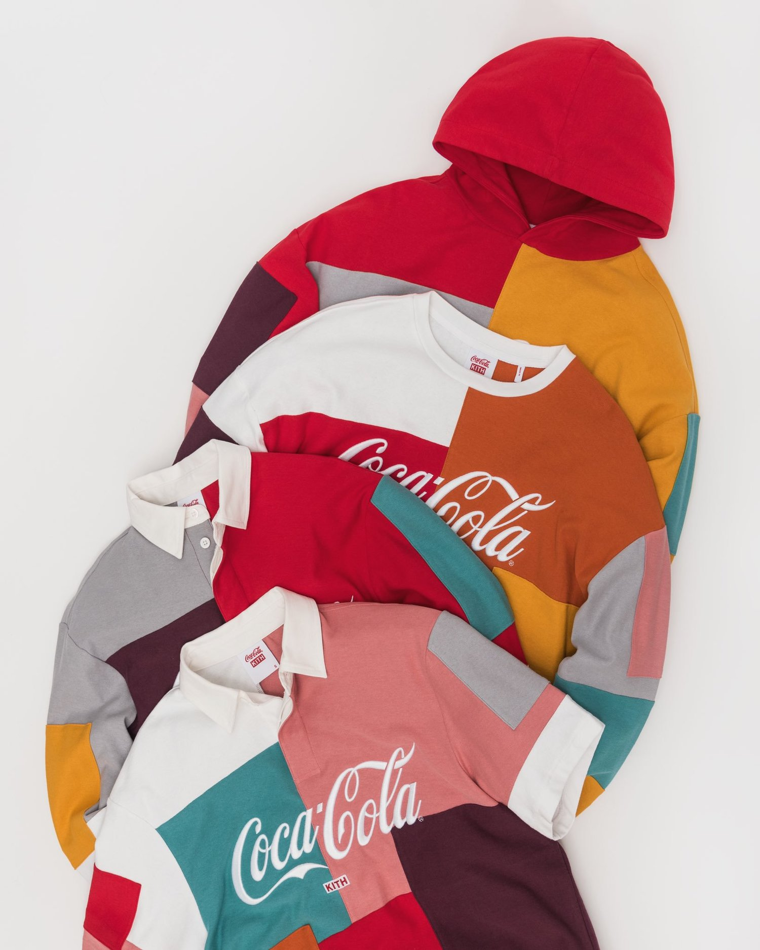 In 2000, the State of Hawaii gave each island its own official color. That color matches the hue of the island's official flower. KITH  used those colors to create these patchwork pieces made of a summer weight cotton jersey. The Kith x Coca Cola 2019 collection is coming soon.