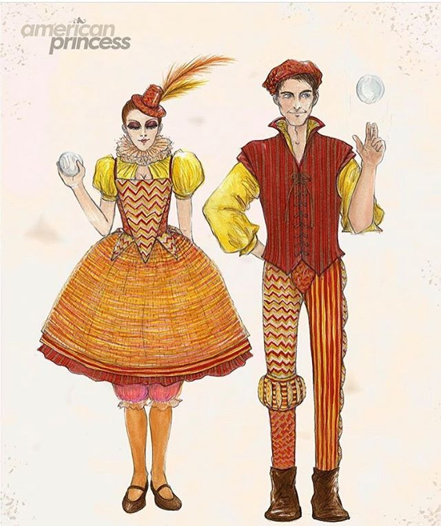 Last sumner had the best time on a TV show as a juggler 🤹🏻‍♀️ #AmericanPrincess on @lifetimetv 🎪👸🏻 it's on now Sundays at 9pm! Check it out it's Hilarious 📺 The costumes were gorgeous made by @patternattack and this is the original design of my juggler costume ❤️🧡💛@karenyan_illustrations  #juggler #renaissancefaire