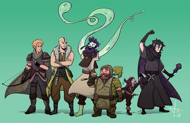 A painting of our dopey band of misfits, Clerical Error, from my after-work D&D campaign. From left to right: Kevmorn the half elf ranger, Vol the human monk, Tapioca the oozian warlock, Harbick the dwarf paladin, Zeebo the deep gnome rogue, and Schmalfluius the half elf cleric. So far it has been a cluster of confusion, mediocre role play,  and strange jokes, but it has been very fun and a great way to keep the BIG SAD™️ away here in Wisconsin. #dungeonsanddragons #dnd #characterdesign #drawing #photoshop #draweveryday #cintiq #artistsoninstagram