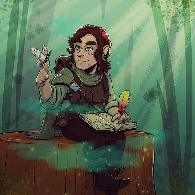 Drew my boy @domainofdolin 's halfling druid Törsten. A member of the Circle of the Swamp, and avid calligrapher, I imagine he wanders far and wide documenting his travels, enjoying local brew and helping the helpless. This was such a fun piece to draw, and kind of came together on its own. I wanted to portray a kind and gentle expression, as was described when I asked about the character, and I think I did Törsten justice! #dnd #characterdesign #druid #photoshop #digitalart #drawing #character #dungeonsanddragons #halfling #artistsoninstagram