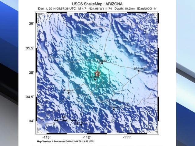 4.7 Magnitude Earthquake, epicenter 34.977°N, 111.740°W , 7 miles north or Sedona. 11-30-14