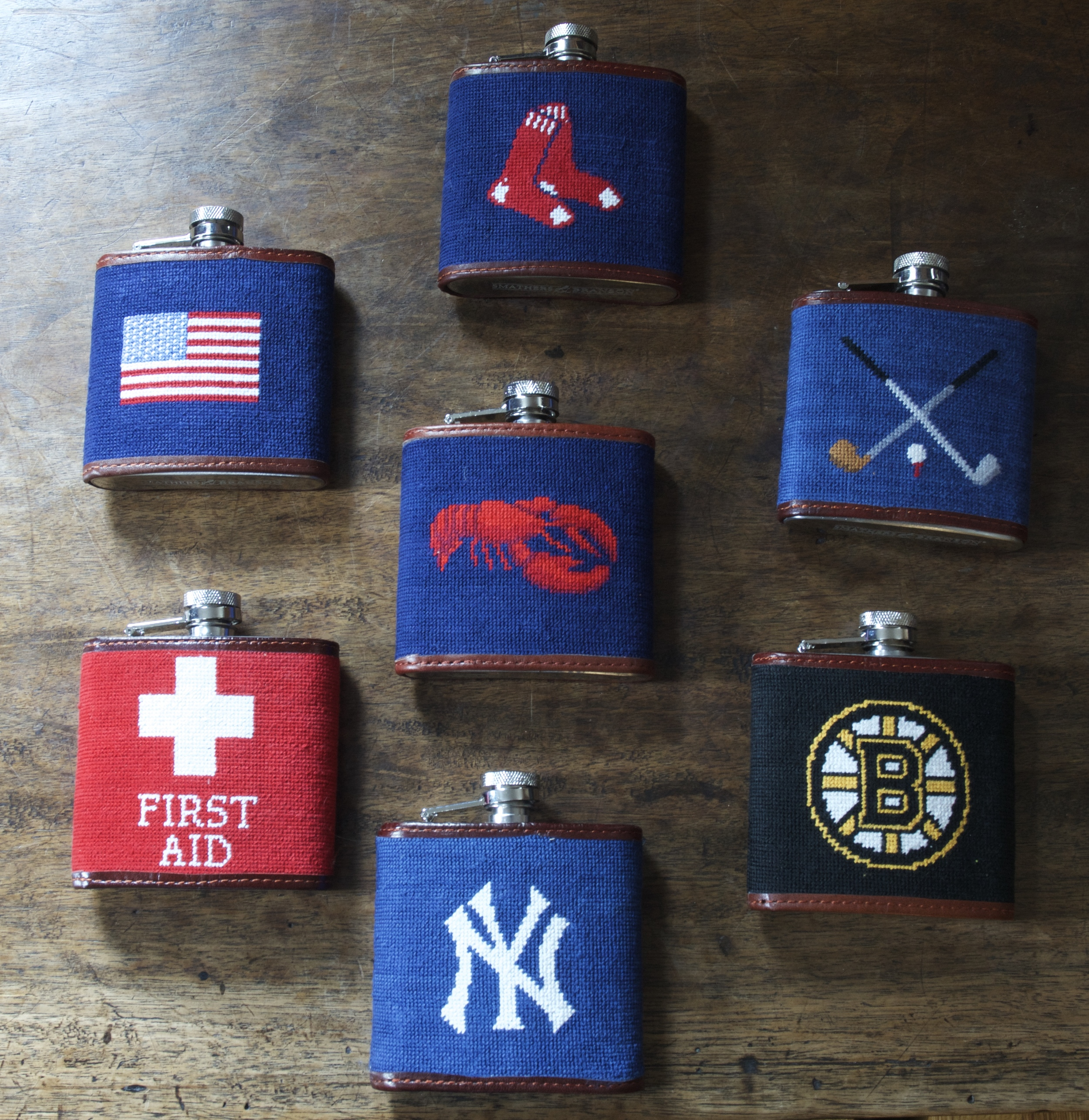 Leather Trimmed & Embroidered 6 oz. Flask