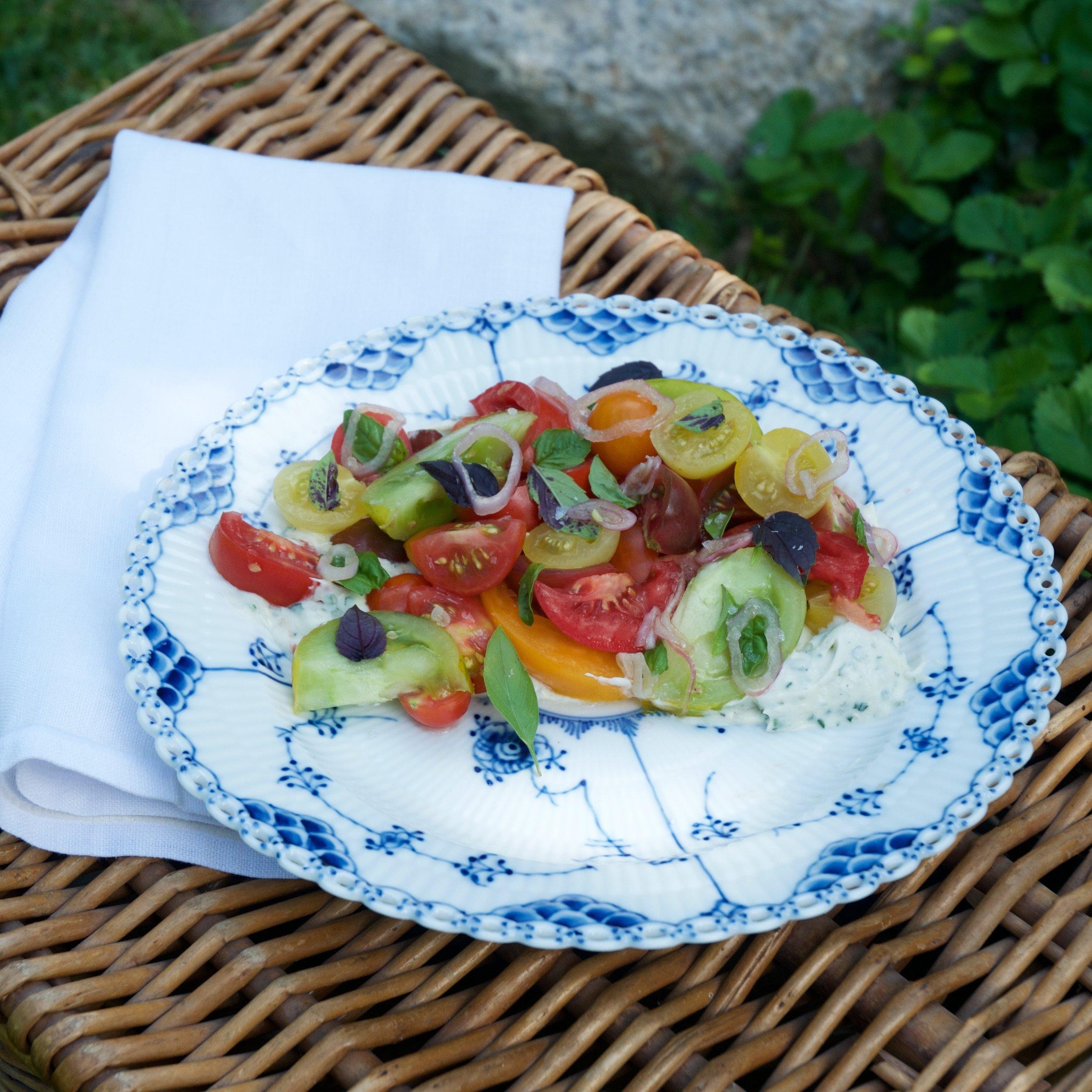NOPI TOMATOES WITH WASABI MASCARPONE AND PINE NUTS