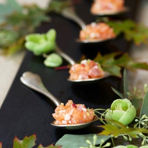 SALMON TARTAR with APPLE, CELERY & RADISH