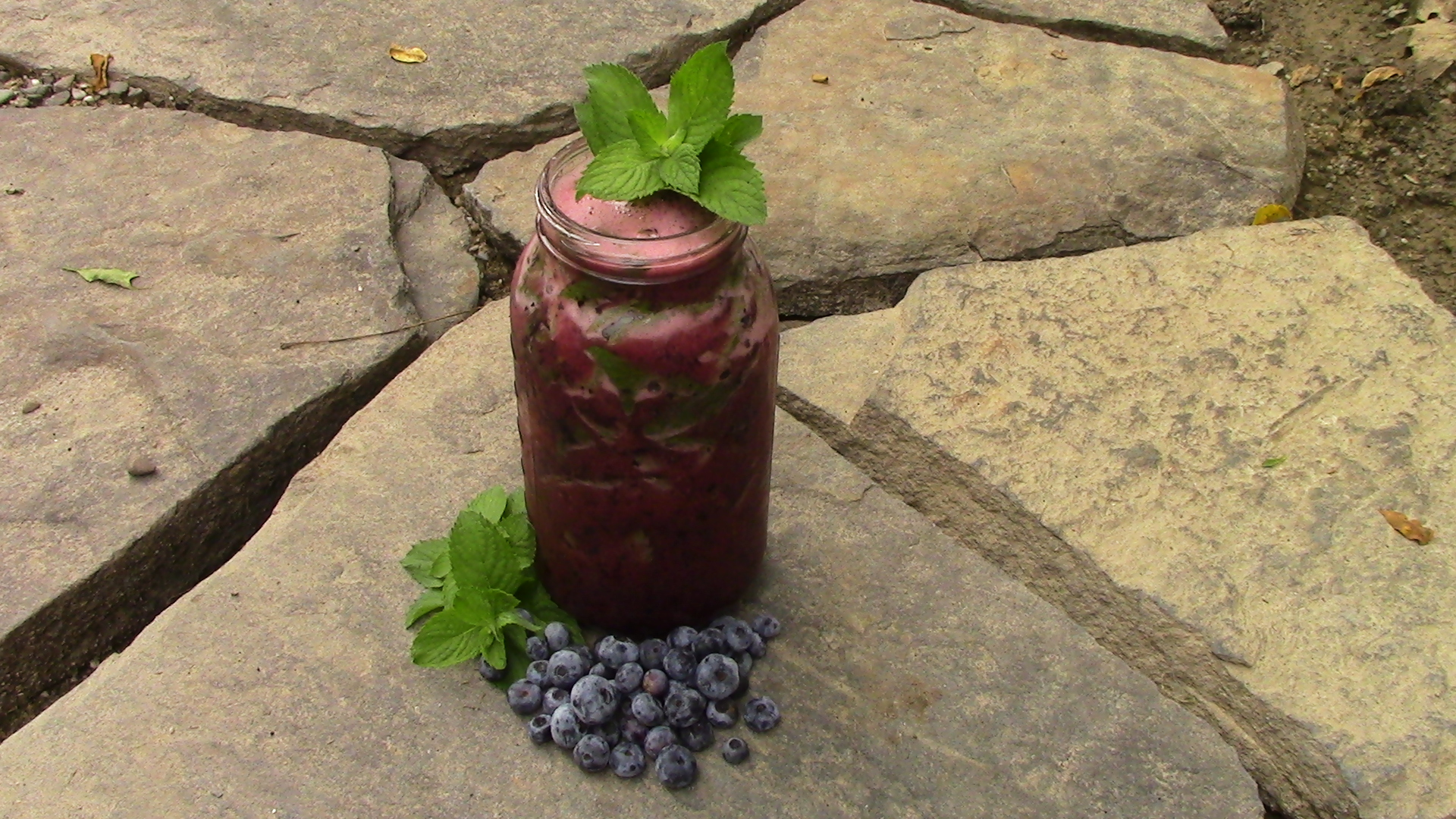 Apple Mint Blueberry Agua Fresca