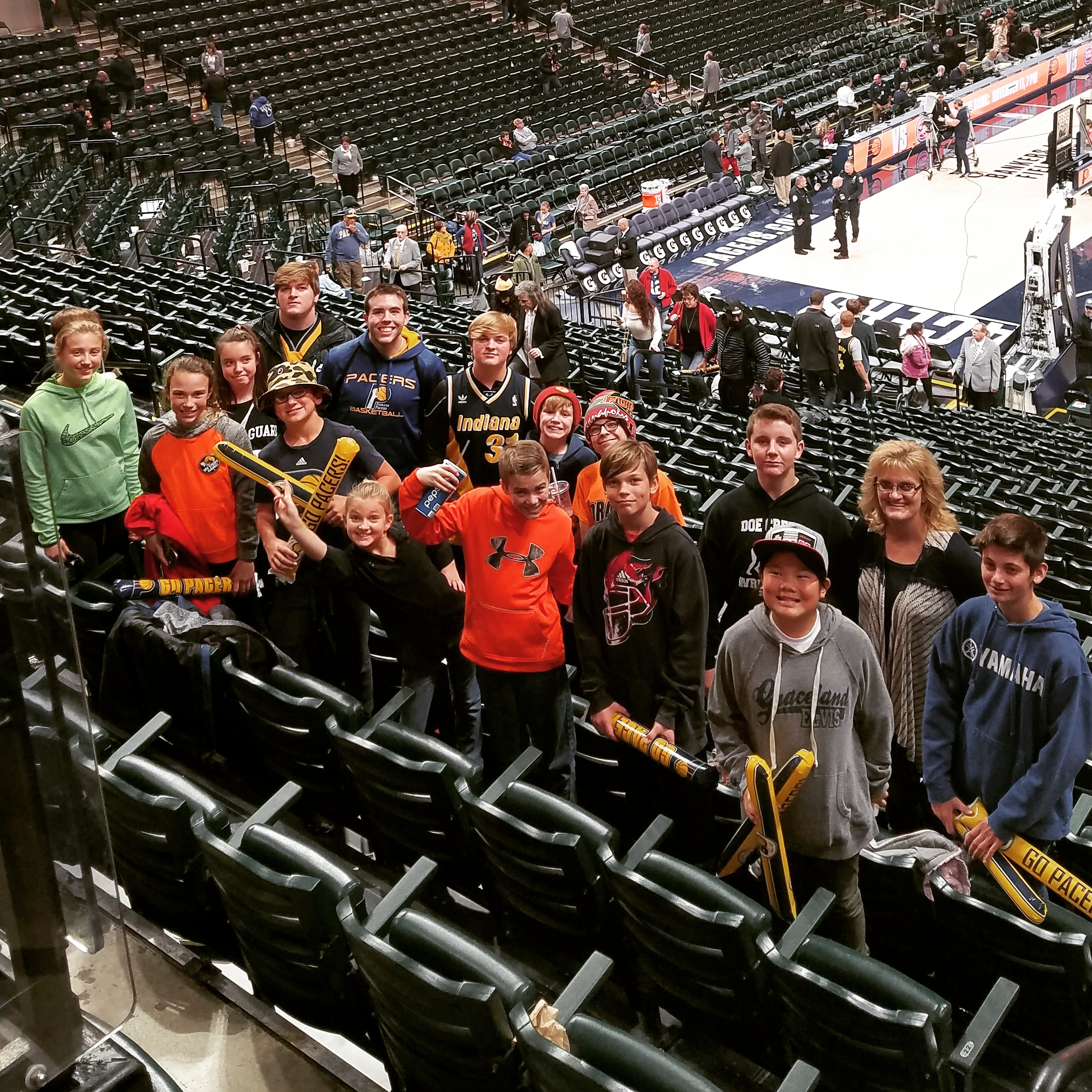 Connor & Robin attending a Pacer's game with Rooted Youth Group!