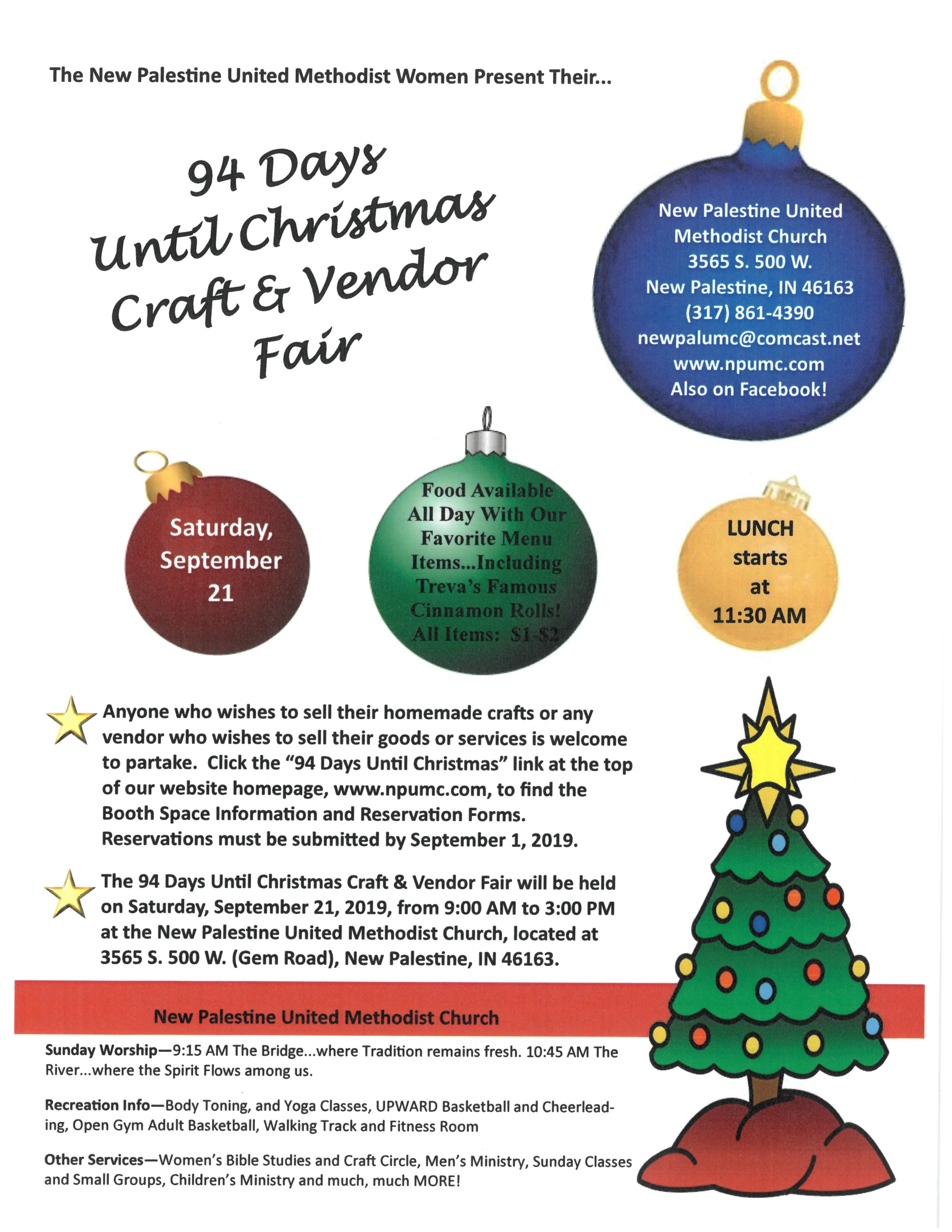 Until Christmas.94 Days Until Christmas Craft And Vendor Fair New