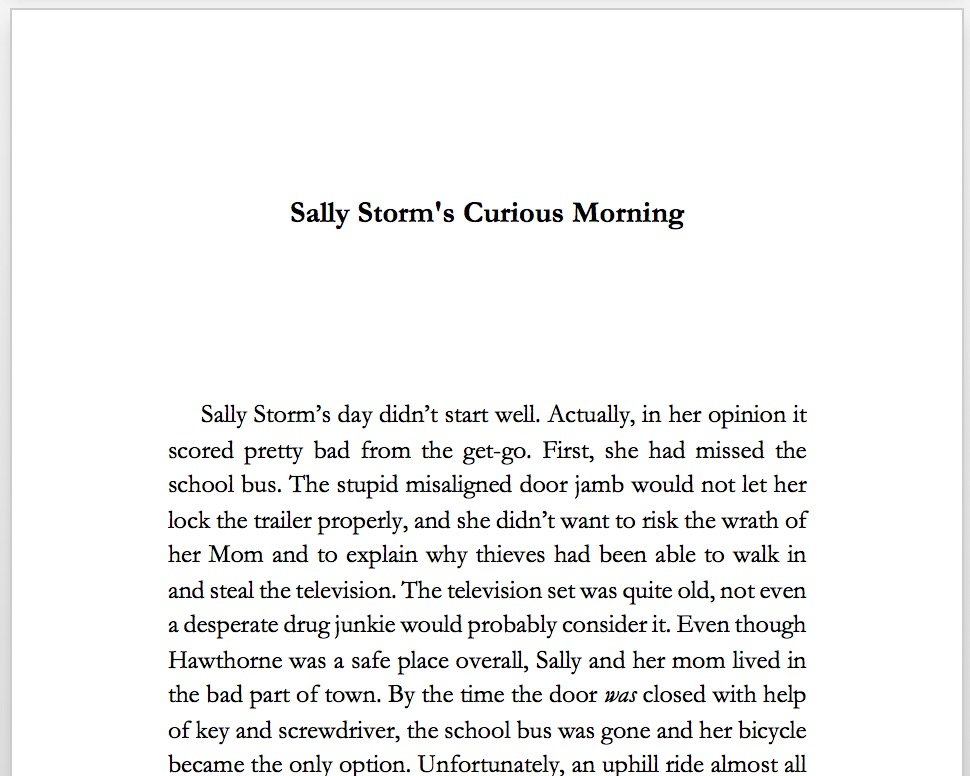 Second Chapter - enter our heroine Sally Storm
