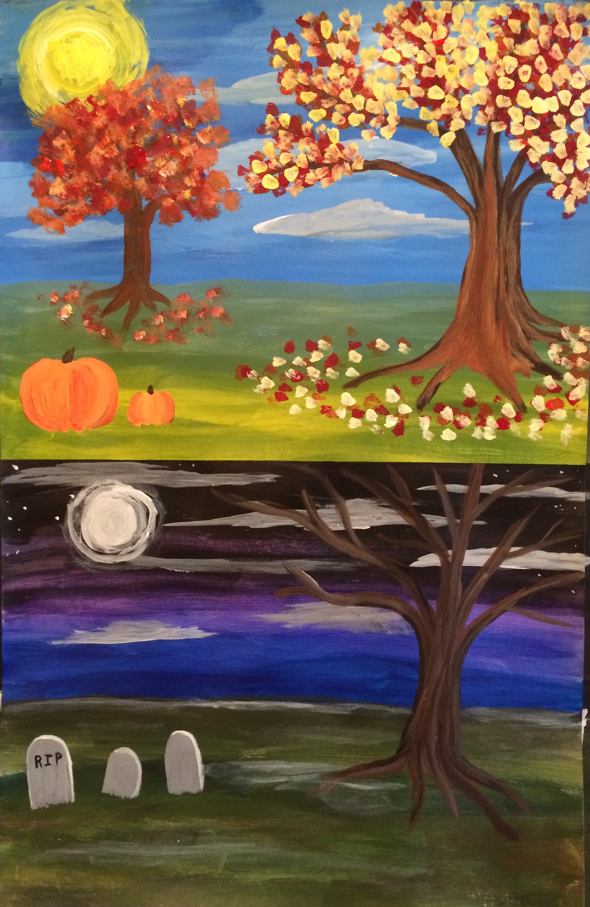 Choose to paint a day or night scene!