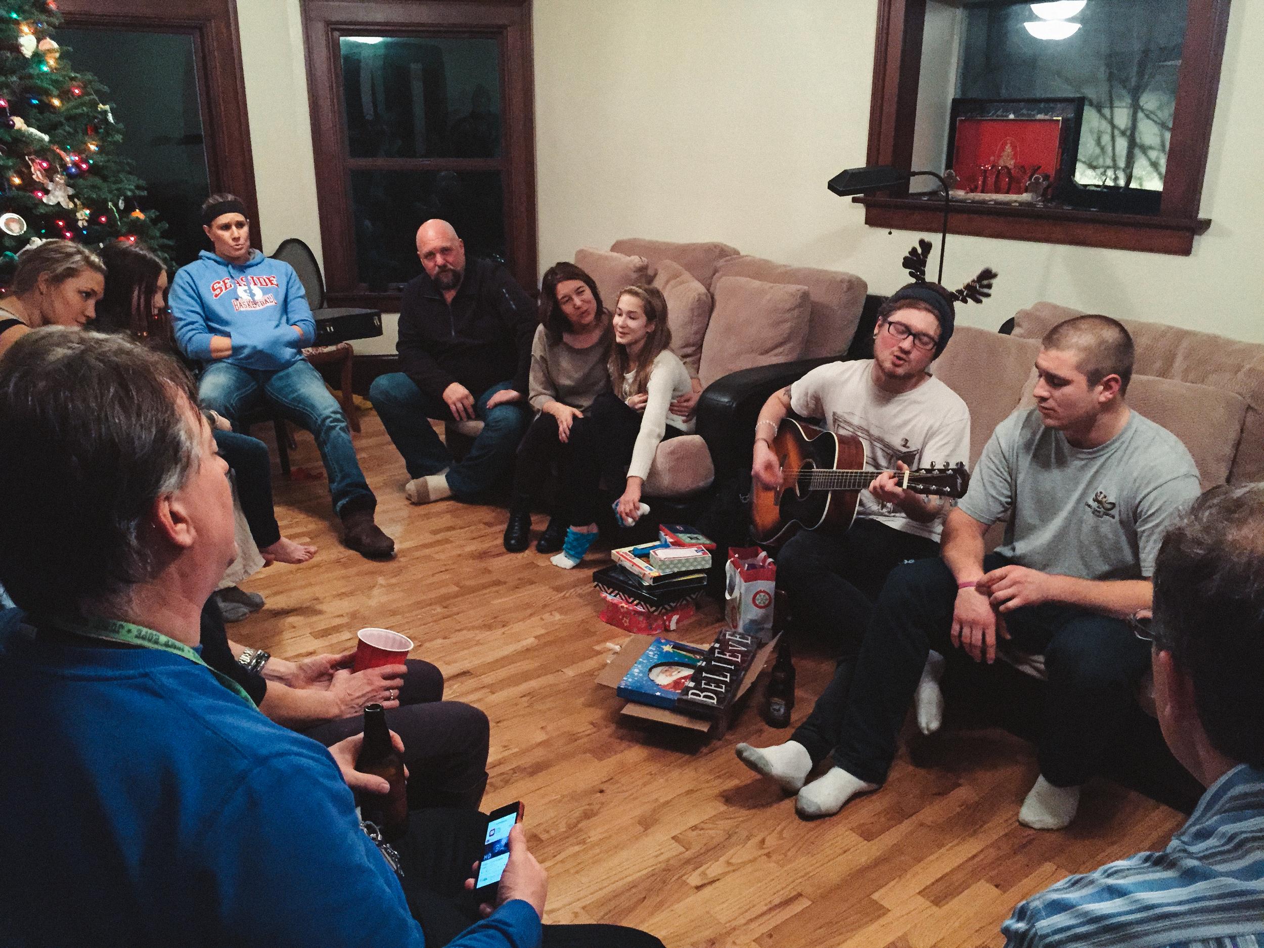 Dundas family Christmas Eve. K.C. entertains all.