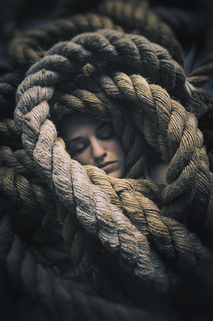 Woman Ropes Grief Silent Isolated Lonely Weight Conceptual Photo