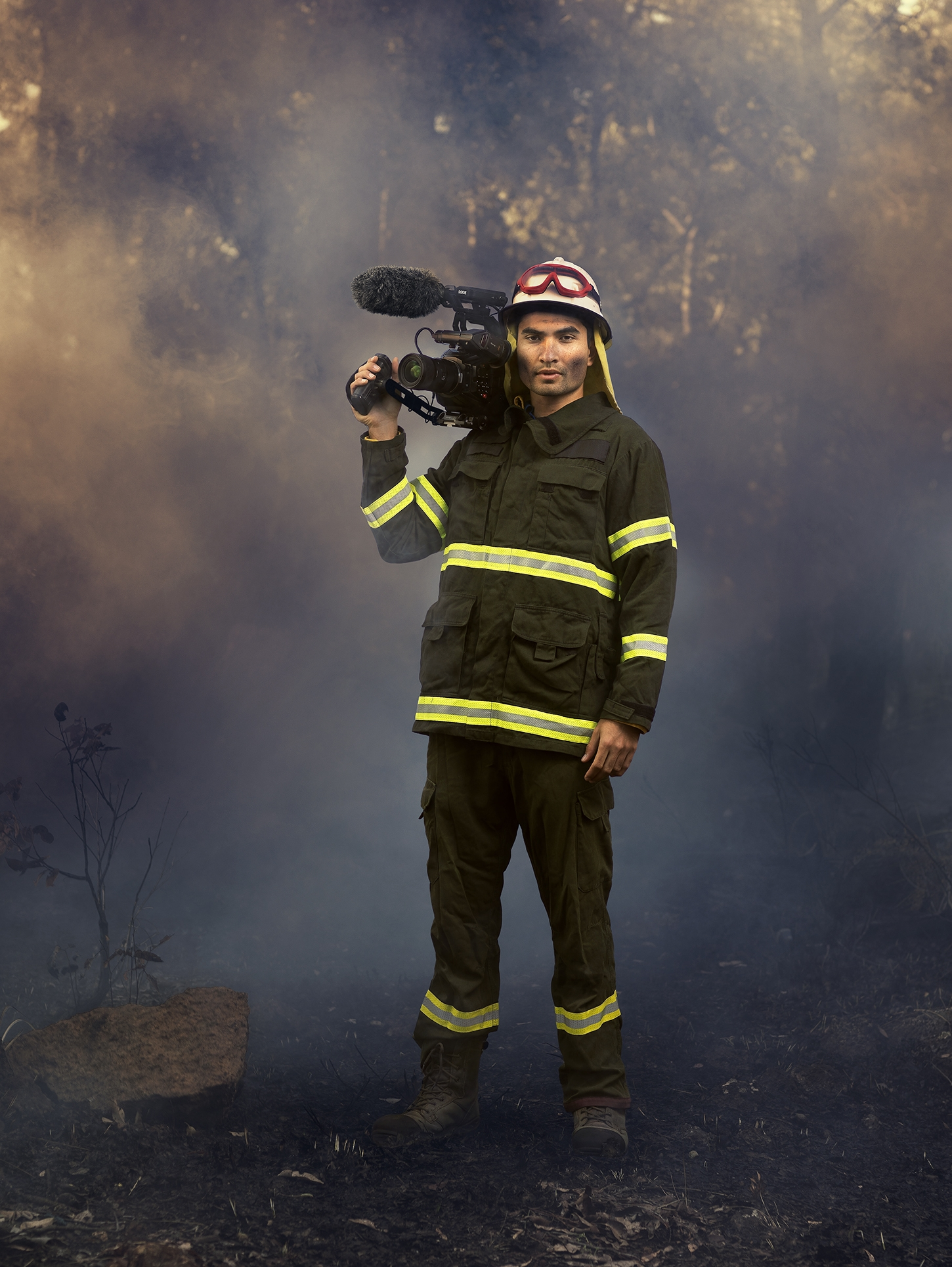 """This photo was taken whilst shooting for the series Bushfire Wars showed on National Geographic. I spent two years filming in the Australian bush with firefighters"" - Credit: Dear Rabbit Studios"