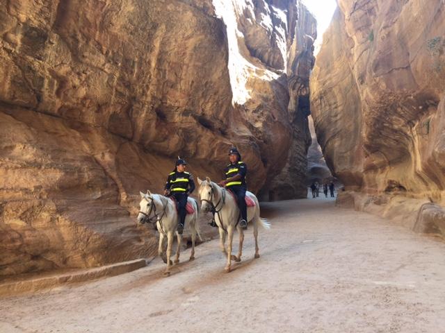 Jordanian police on patrol in the Siq