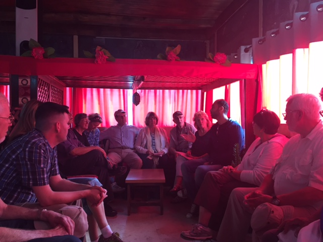 A Palestinian in a refugee camp sharing with us about his life. We visited this camp after visiting an Israeli settlement.