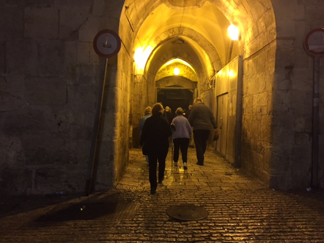 Entering Herod's Gate in the old city of Jerusalem on our way to walk the stations of the cross before sunrise