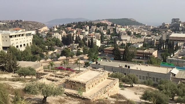 Nazareth, in Galilee, on a hill overlooking the Jezreel Valley, is the town where Jesus grew up.