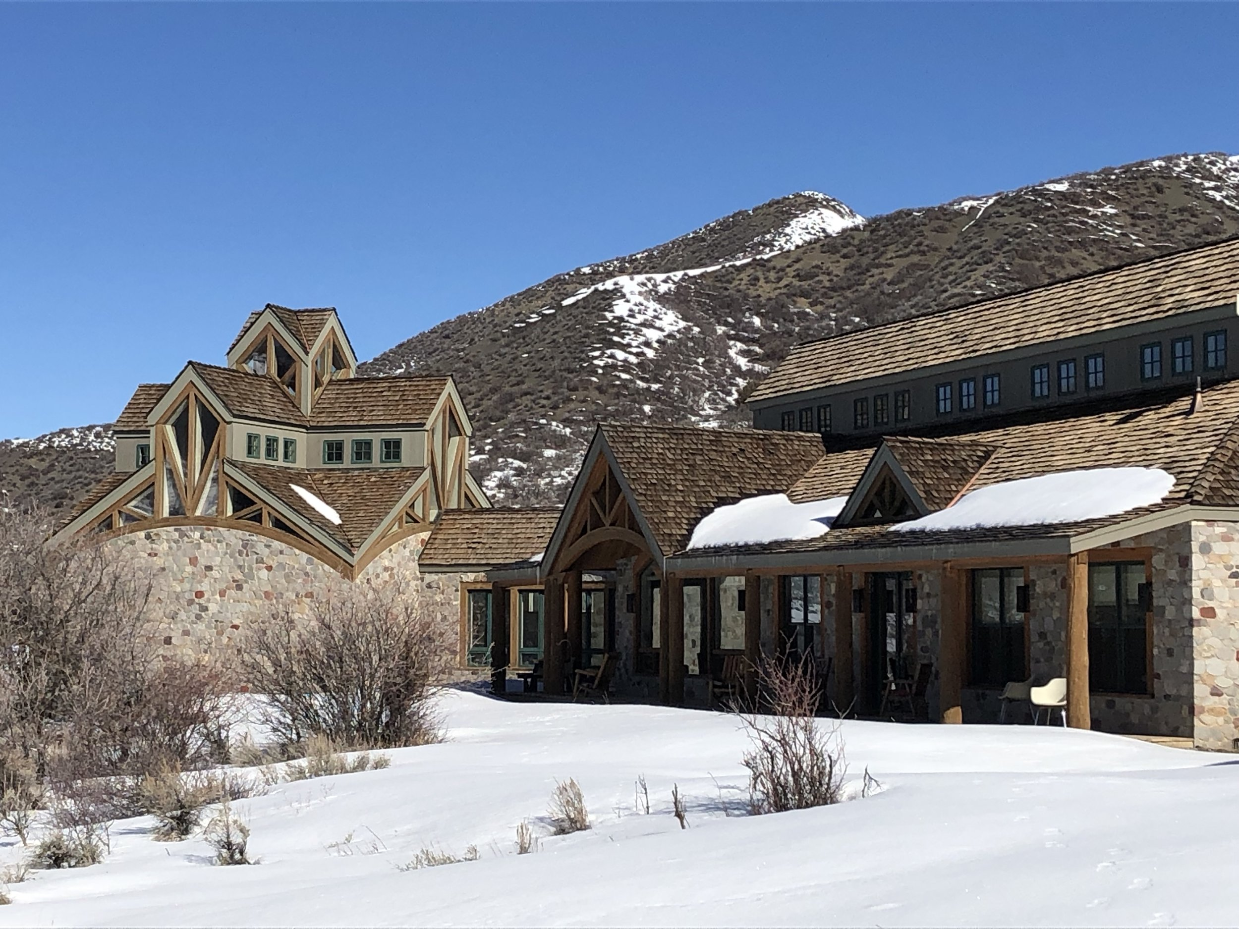 A view of a portion of the guesthouse and the prayer chapel at St. Benedict's Monastery, Snowmass, Colorado